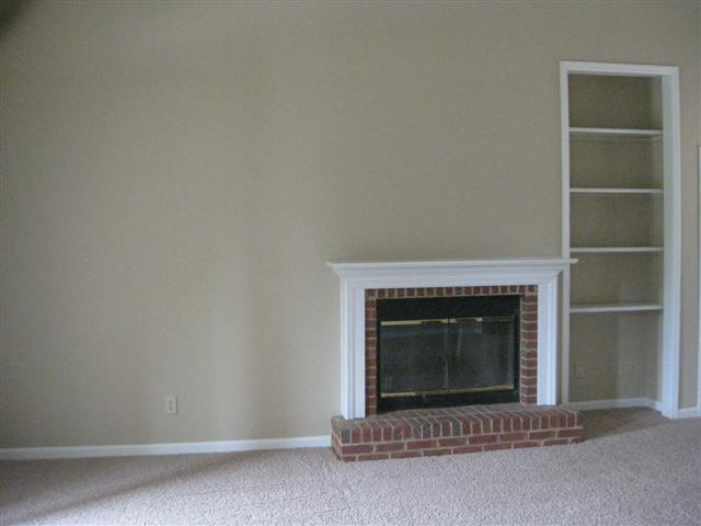 greatroom fireplace and shelves
