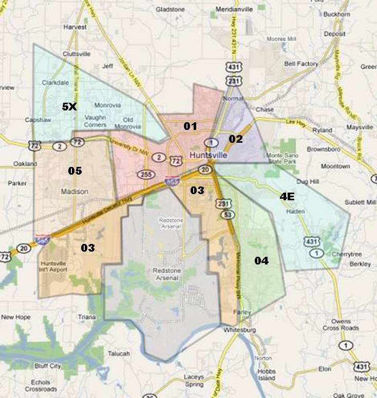 Real Estate Map of Huntsville Alabama